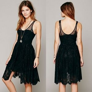 FREE PEOPLE Black Lace Foil Overlay Dress